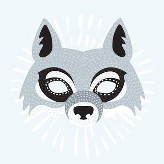 Ilustração da máscara do lobo dos desenhos animados
