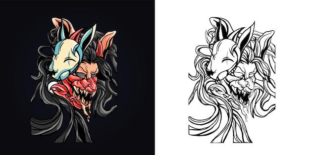 Ilustração da máscara do terror satanás