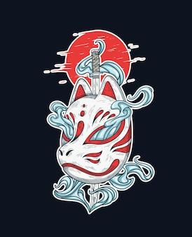 Ilustração da máscara japonesa kitsune e da espada katana