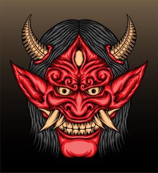 Ilustração da máscara vermelha do hannya.