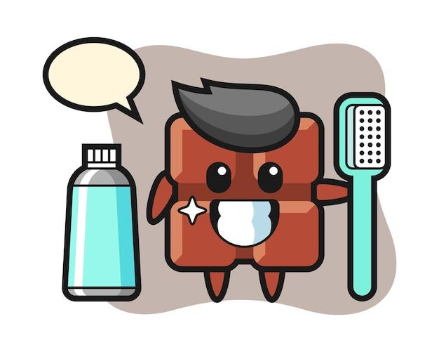 Ilustração da mascote da barra de chocolate com uma escova de dentes, estilo kawaii bonito.