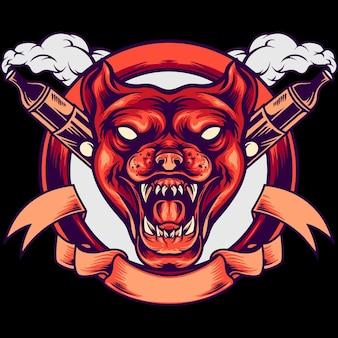 Ilustração da mascote da cabeça de cachorro vape