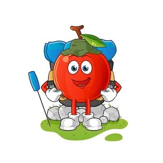 Ilustração da mascote da cereja vai acampar