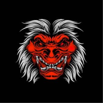 Ilustração da mascote da máscara oni principal