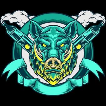 Ilustração da mascote de boar head vape
