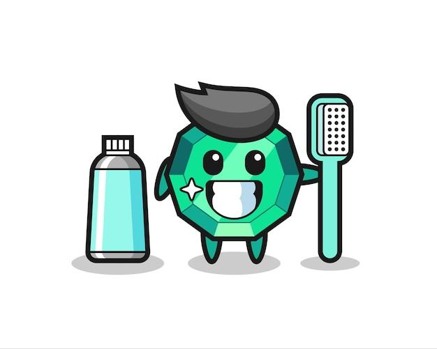 Ilustração da mascote de gema esmeralda com uma escova de dentes, design de estilo fofo para camiseta, adesivo, elemento de logotipo