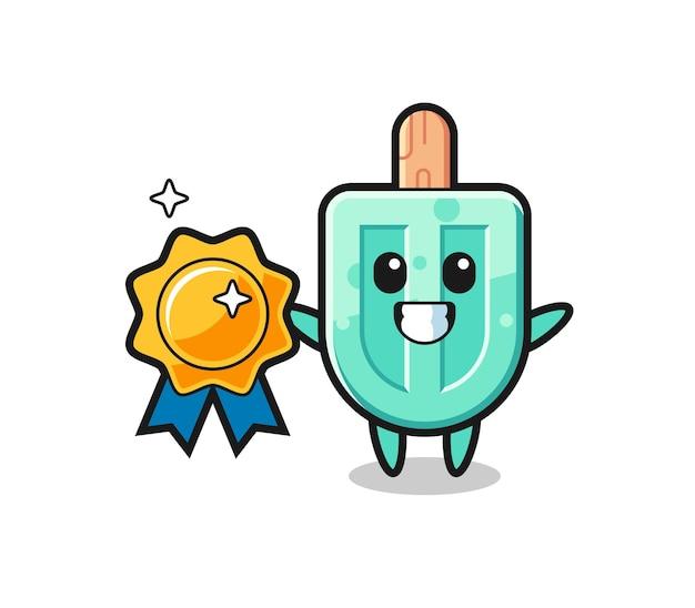 Ilustração da mascote de picolé segurando um distintivo dourado, design fofo