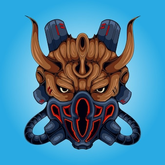 Ilustração da mascote do crânio do mal da máscara de gás