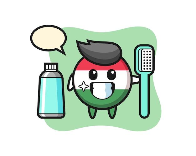 Ilustração da mascote do distintivo da bandeira da hungria com uma escova de dentes, design de estilo fofo para camiseta, adesivo, elemento de logotipo
