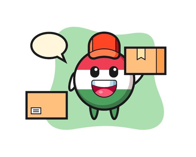 Ilustração da mascote do distintivo da bandeira da hungria como um correio, design de estilo fofo para camiseta, adesivo, elemento de logotipo
