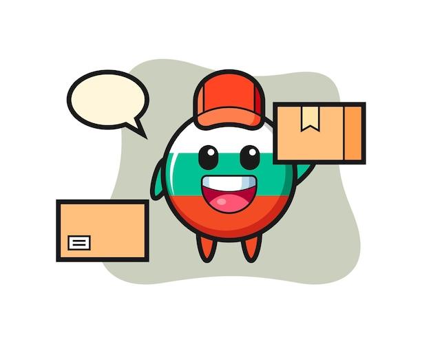 Ilustração da mascote do emblema da bandeira da bulgária como um correio, design de estilo fofo para camiseta, adesivo, elemento de logotipo