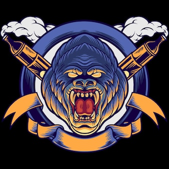 Ilustração da mascote do gorilla head vape