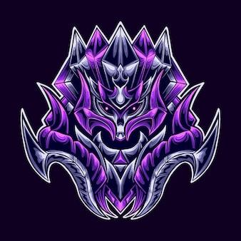 Ilustração da mascote do logotipo do death demon warrior