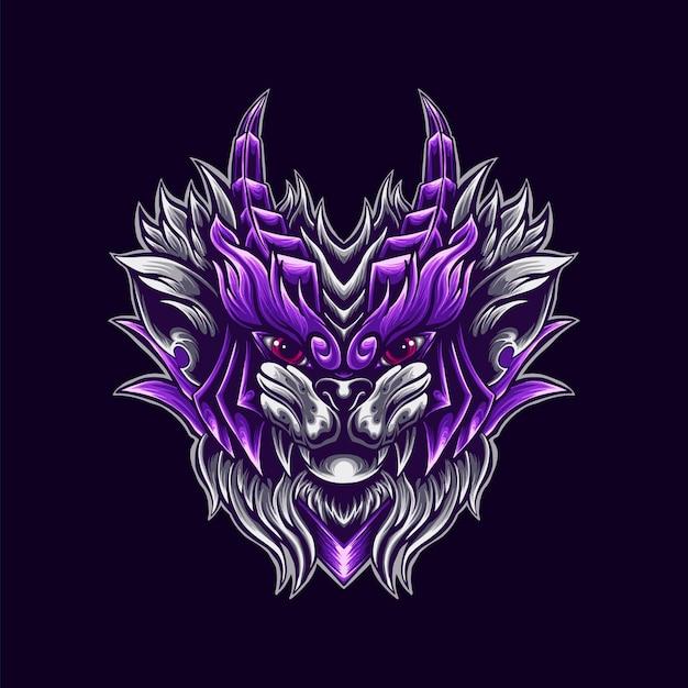 Ilustração da mascote do logotipo do gato guerreiro