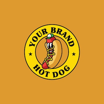 Ilustração da mascote do logotipo do hotdog