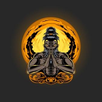 Ilustração da meditação da espiritualidade humana