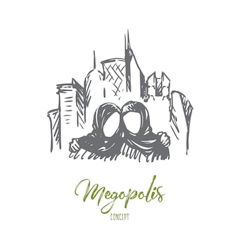 Ilustração da megópolis desenhada à mão