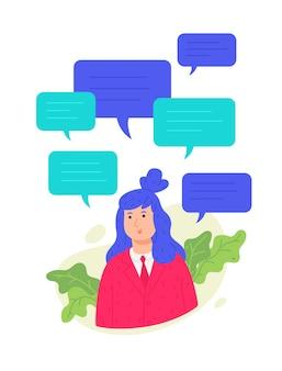 Ilustração da menina avatar com mensagens de texto.