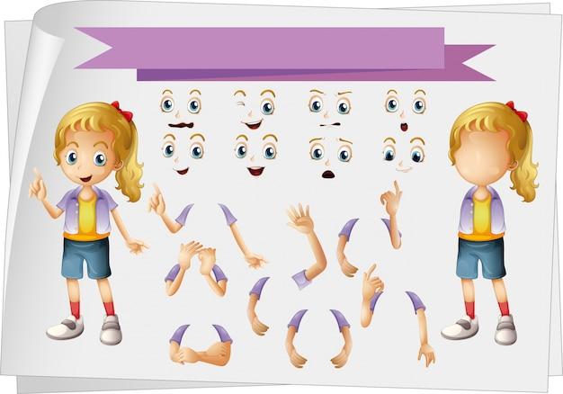 Ilustração da menina e dos diferentes conjuntos de faces
