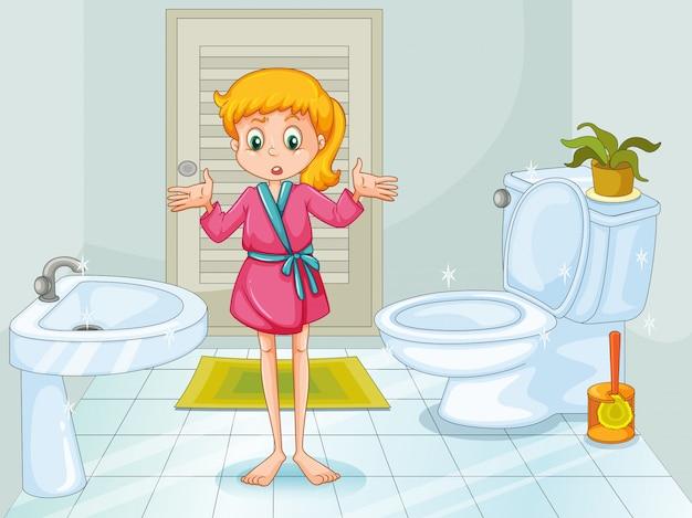 Ilustração da menina em pé no banheiro limpo