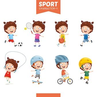 Ilustração da menina fazendo esporte