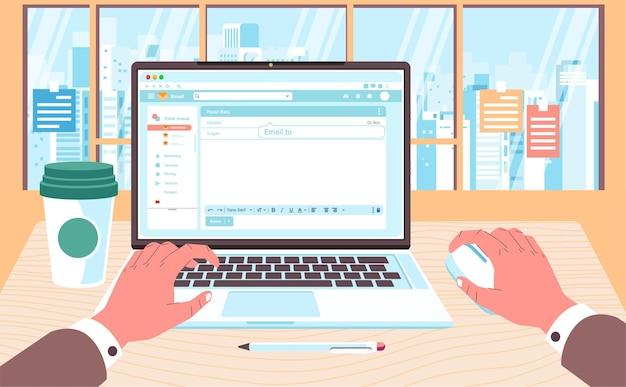 Ilustração da mesa de trabalho em frente à janela, mão trabalhando no laptop e xícara de café ao lado