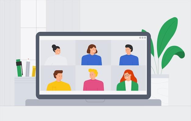Ilustração da moda um grupo de amigos de pessoas reunidos em videoconferência online. pessoas com videochamada e mensagens conversando, consultoria, seminário, conceito de treinamento online.