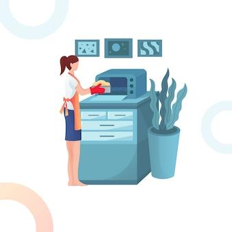 Ilustração da mulher é cozinhar cookies no microondas