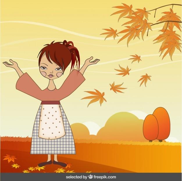 Ilustração da mulher na paisagem do outono
