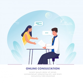 Ilustração da mulher que tem a consulta em linha ao doutor in laptop no fundo azul e branco.
