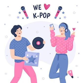 Ilustração da música k-pop