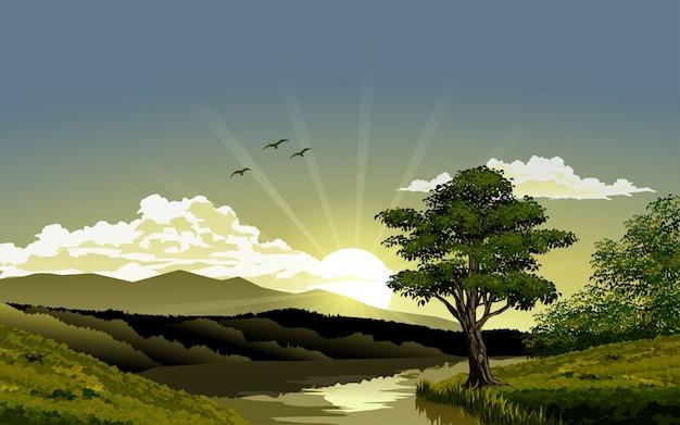 Ilustração da natureza ao nascer do sol