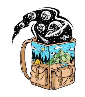 Ilustração da natureza em uma bolsa