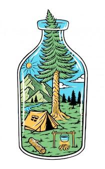 Ilustração da natureza em uma garrafa