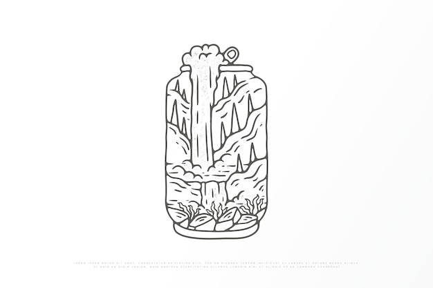 Ilustração da natureza monoline ao ar livre