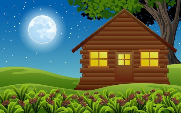 Ilustração da noite com casinha de madeira
