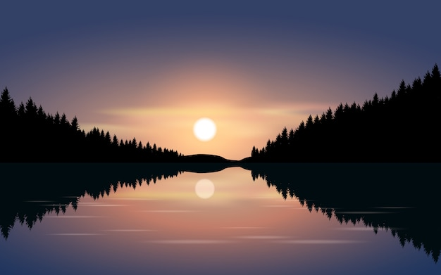 Ilustração da noite com luar e rio