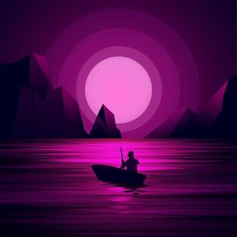 Ilustração da noite com o homem no barco e lua cheia