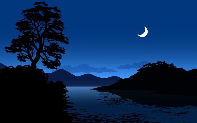 Ilustração da noite com rio e lua