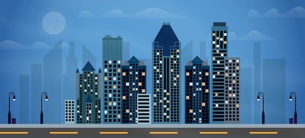 Ilustração da noite da cidade