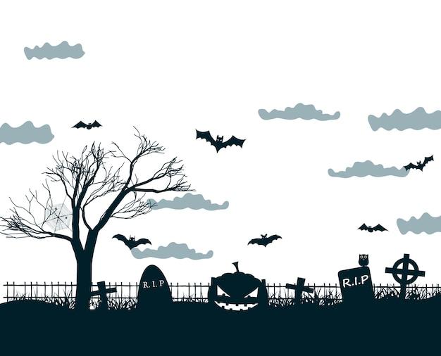 Ilustração da noite de halloween em cores preto, branco e cinza com cruzes escuras de cemitério, árvore morta, abóboras sorridentes e morcegos