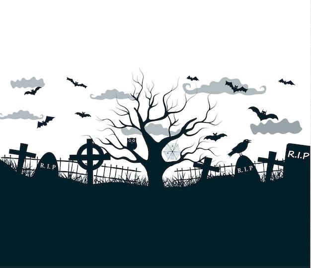 Ilustração da noite de halloween em preto, branco e cinza com cruzes escuras de cemitério, árvore morta e morcegos