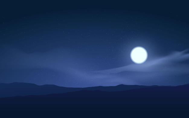Ilustração da noite na montanha com lua