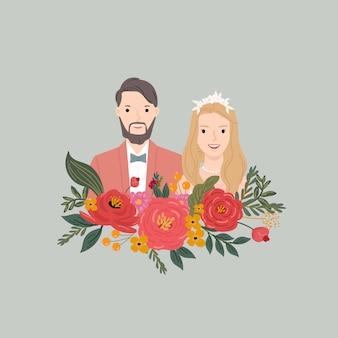Ilustração da noiva e do noivo do casal com fundo da flor. para cartão de convite de casamento, cartaz, impressão de arte, presente.
