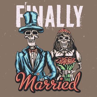 Ilustração da noiva e do noivo mortos com letras