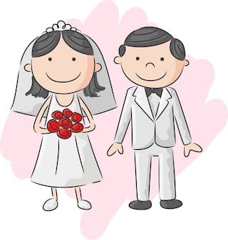 Ilustração da noiva e do noivo