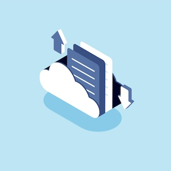 Ilustração da nuvem com o conceito de armazenamento em nuvem