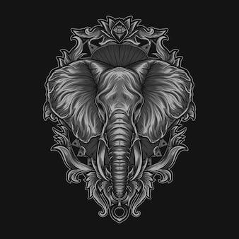 Ilustração da obra de arte e ornamento da gravura da cabeça do elefante da camiseta