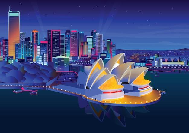Ilustração da ópera de sydney à noite