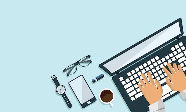 Ilustração da opinião superior do projeto liso do negócio de computador da tabela do espaço de trabalho do escritório. texto de espaço livre